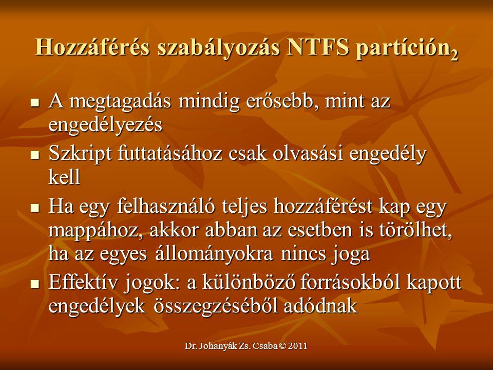 Hozzáférés szabályozás NTFS partíción2