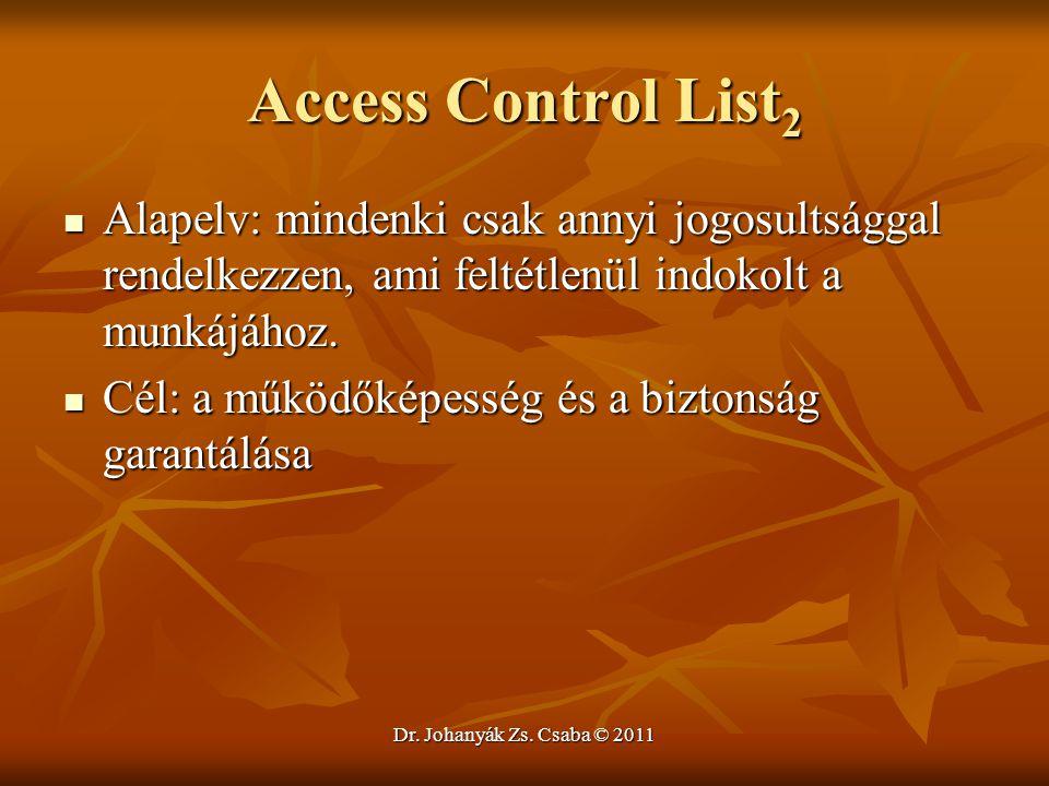 Access Control List2 Alapelv: mindenki csak annyi jogosultsággal rendelkezzen, ami feltétlenül indokolt a munkájához.