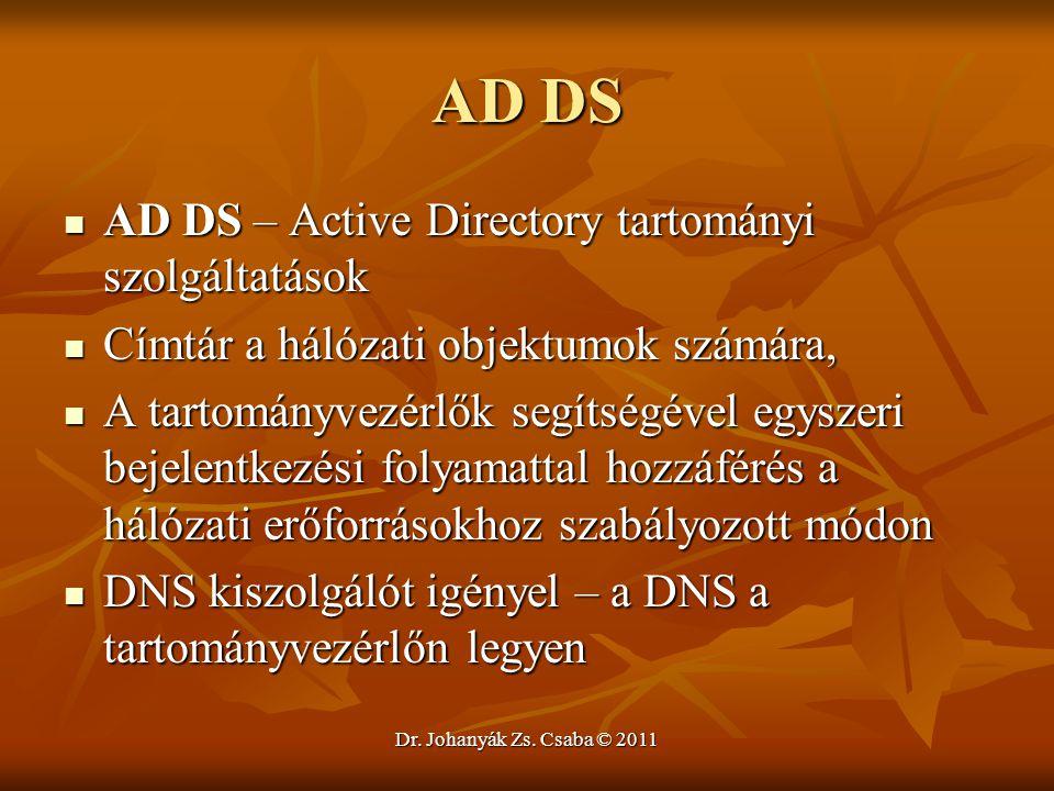 AD DS AD DS – Active Directory tartományi szolgáltatások
