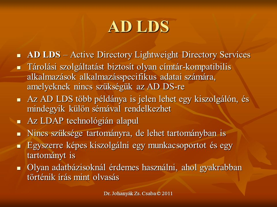AD LDS AD LDS – Active Directory Lightweight Directory Services