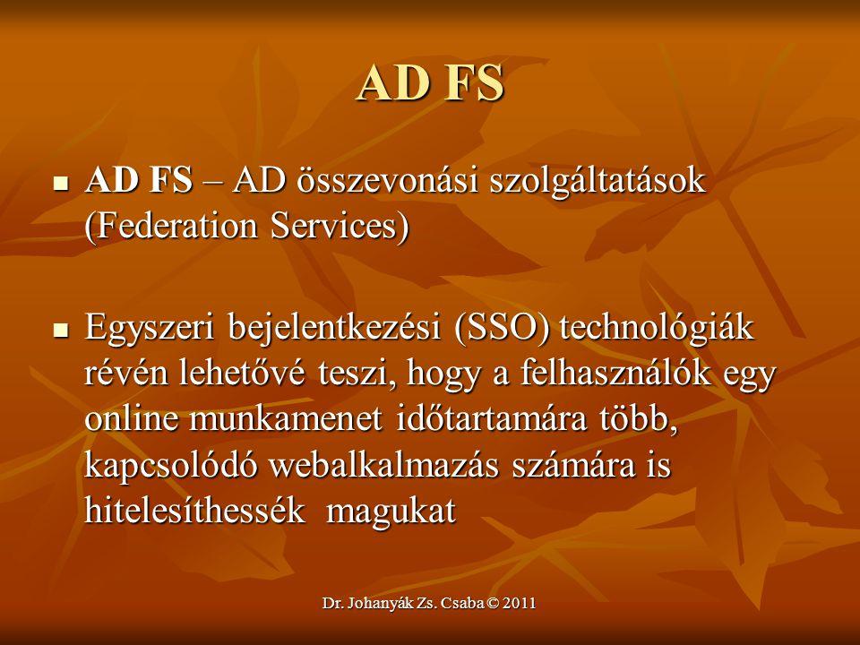 AD FS AD FS – AD összevonási szolgáltatások (Federation Services)
