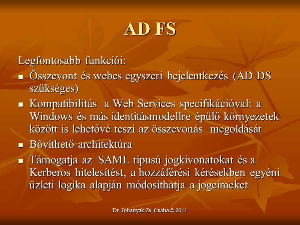 AD FS Legfontosabb funkciói: