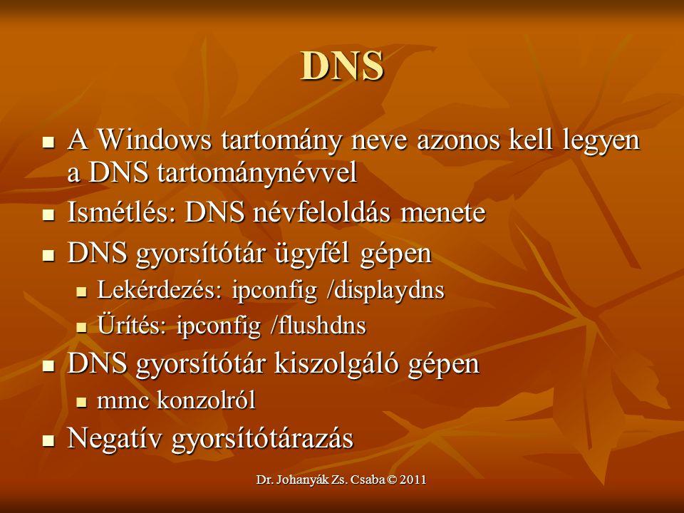 DNS A Windows tartomány neve azonos kell legyen a DNS tartománynévvel