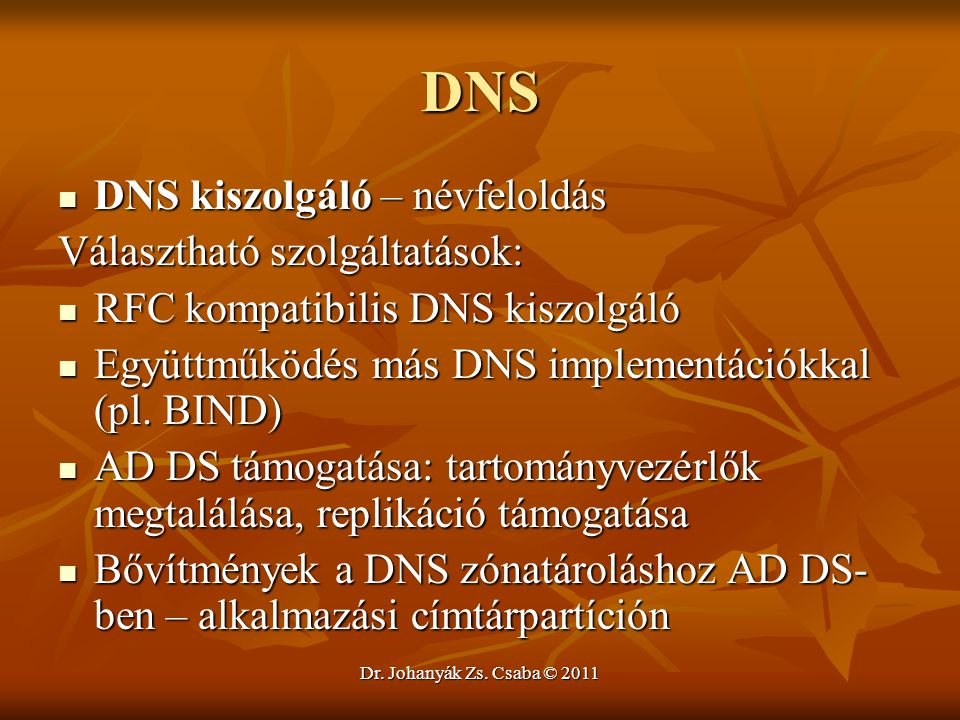 DNS DNS kiszolgáló – névfeloldás Választható szolgáltatások: