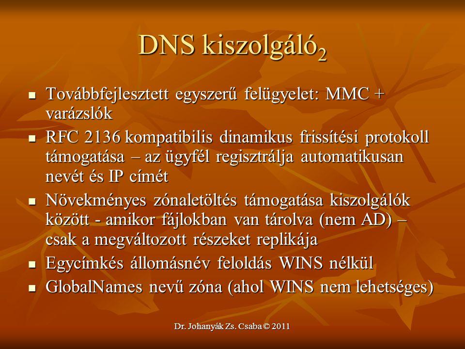 DNS kiszolgáló2 Továbbfejlesztett egyszerű felügyelet: MMC + varázslók