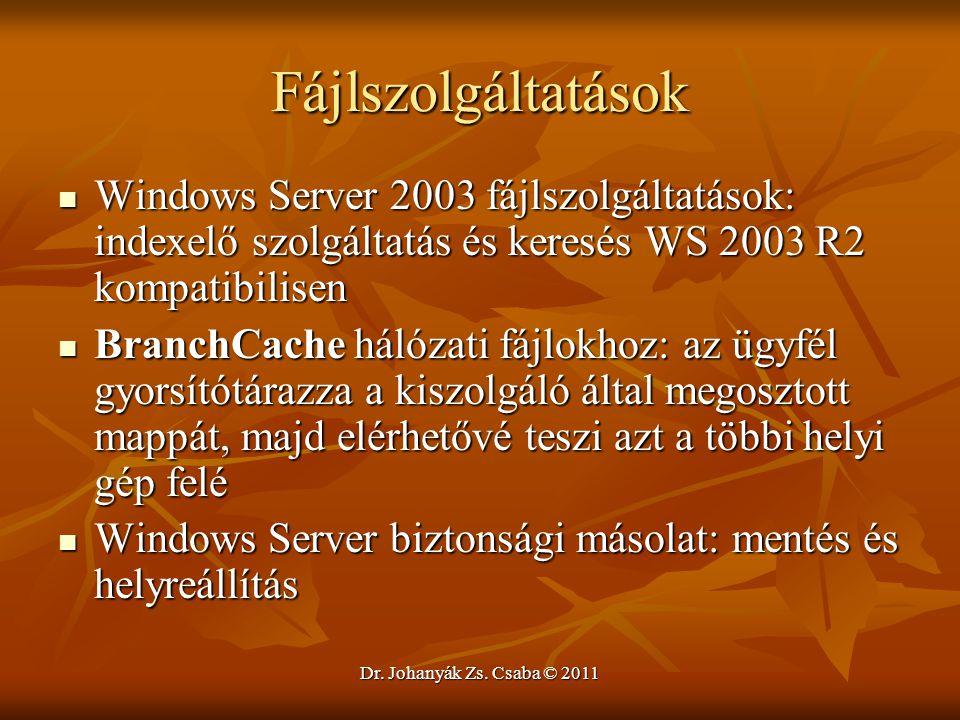 Fájlszolgáltatások Windows Server 2003 fájlszolgáltatások: indexelő szolgáltatás és keresés WS 2003 R2 kompatibilisen.