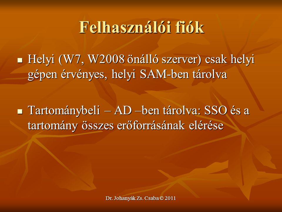 Felhasználói fiók Helyi (W7, W2008 önálló szerver) csak helyi gépen érvényes, helyi SAM-ben tárolva.