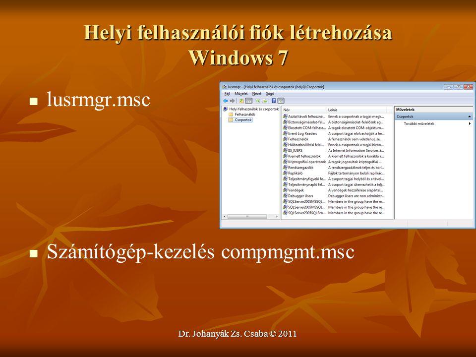 Helyi felhasználói fiók létrehozása Windows 7