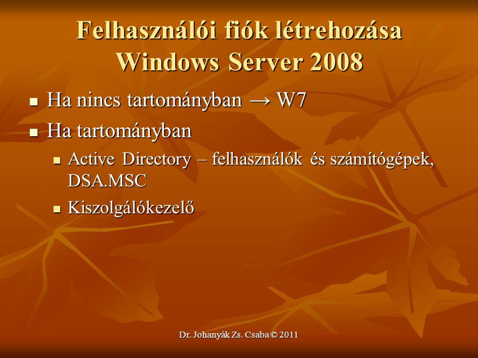 Felhasználói fiók létrehozása Windows Server 2008