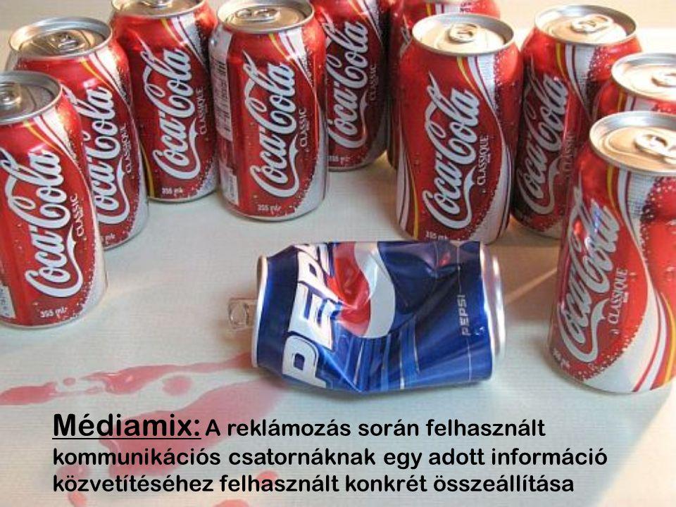 Médiamix: A reklámozás során felhasznált kommunikációs csatornáknak egy adott információ közvetítéséhez felhasznált konkrét összeállítása