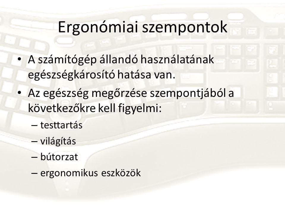 Ergonómiai szempontok