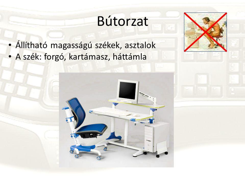 Bútorzat Állítható magasságú székek, asztalok