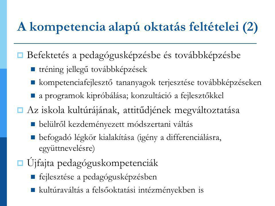 A kompetencia alapú oktatás feltételei (2)