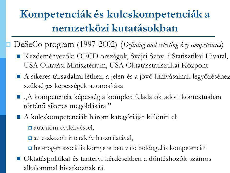 Kompetenciák és kulcskompetenciák a nemzetközi kutatásokban