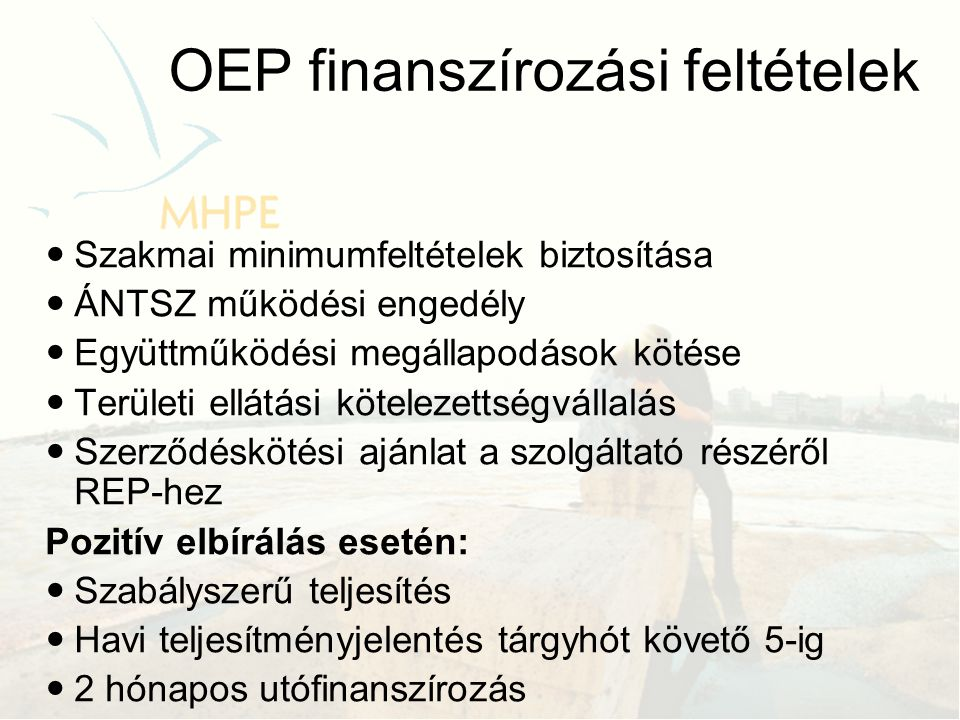 OEP finanszírozási feltételek
