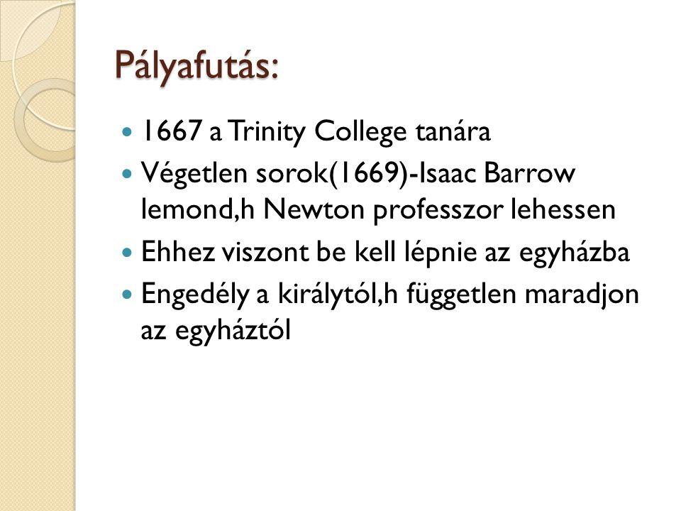 Pályafutás: 1667 a Trinity College tanára