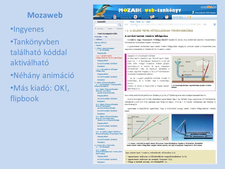 Mozaweb Ingyenes Tankönyvben található kóddal aktiválható Néhány animáció Más kiadó: OK!, flipbook