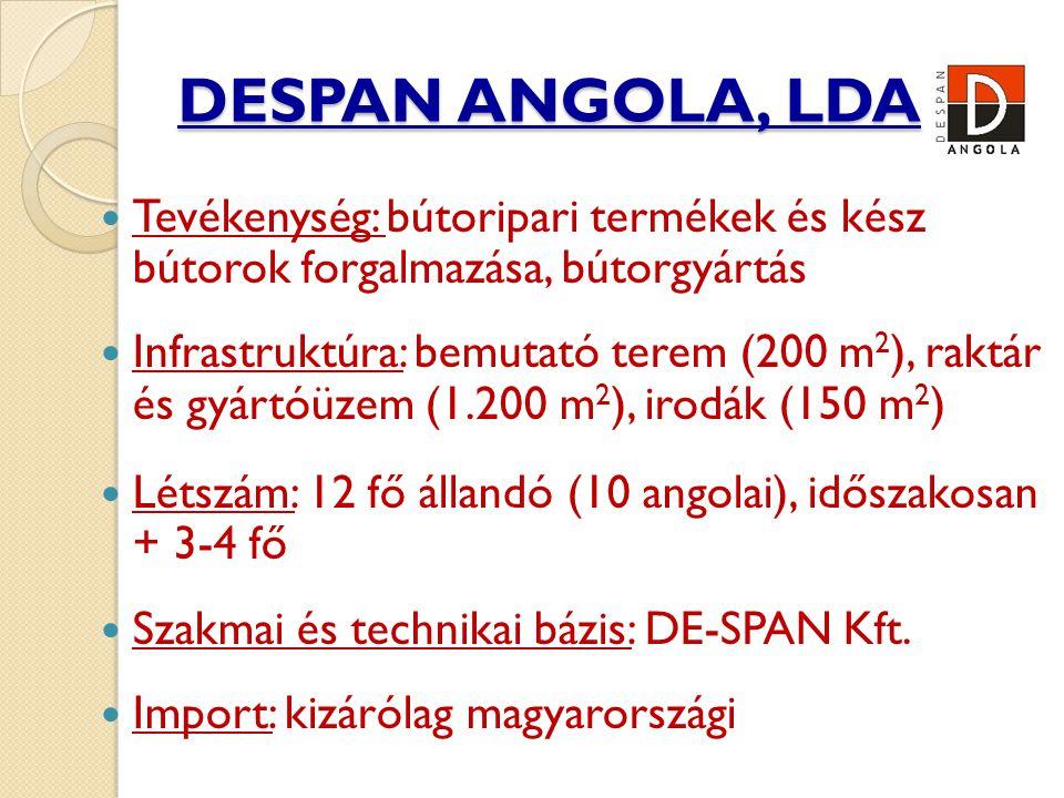 DESPAN ANGOLA, LDA Tevékenység: bútoripari termékek és kész bútorok forgalmazása, bútorgyártás.