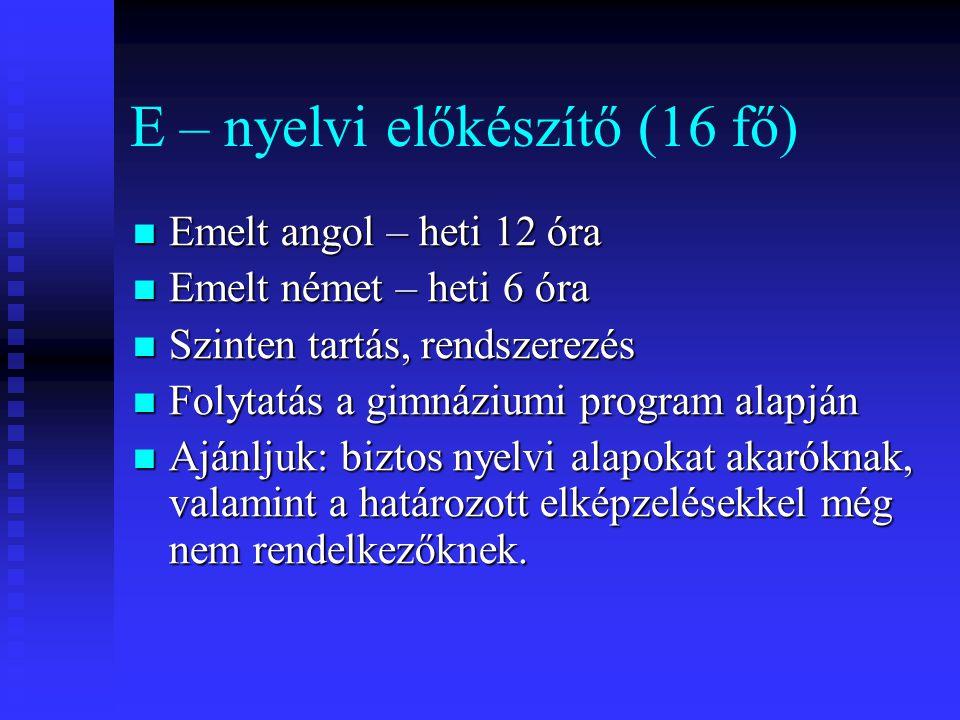 E – nyelvi előkészítő (16 fő)