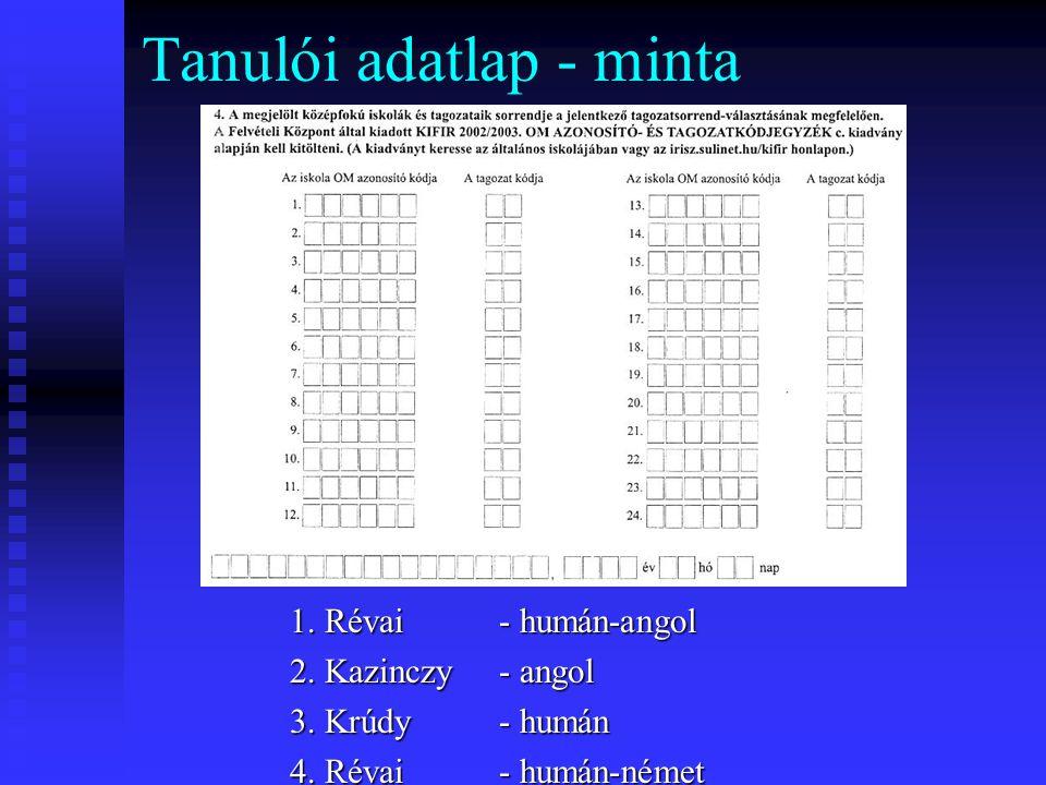 Tanulói adatlap - minta