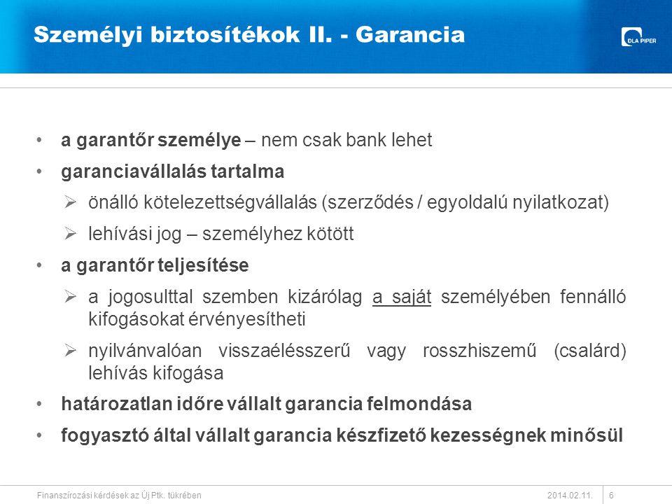 Személyi biztosítékok II. - Garancia