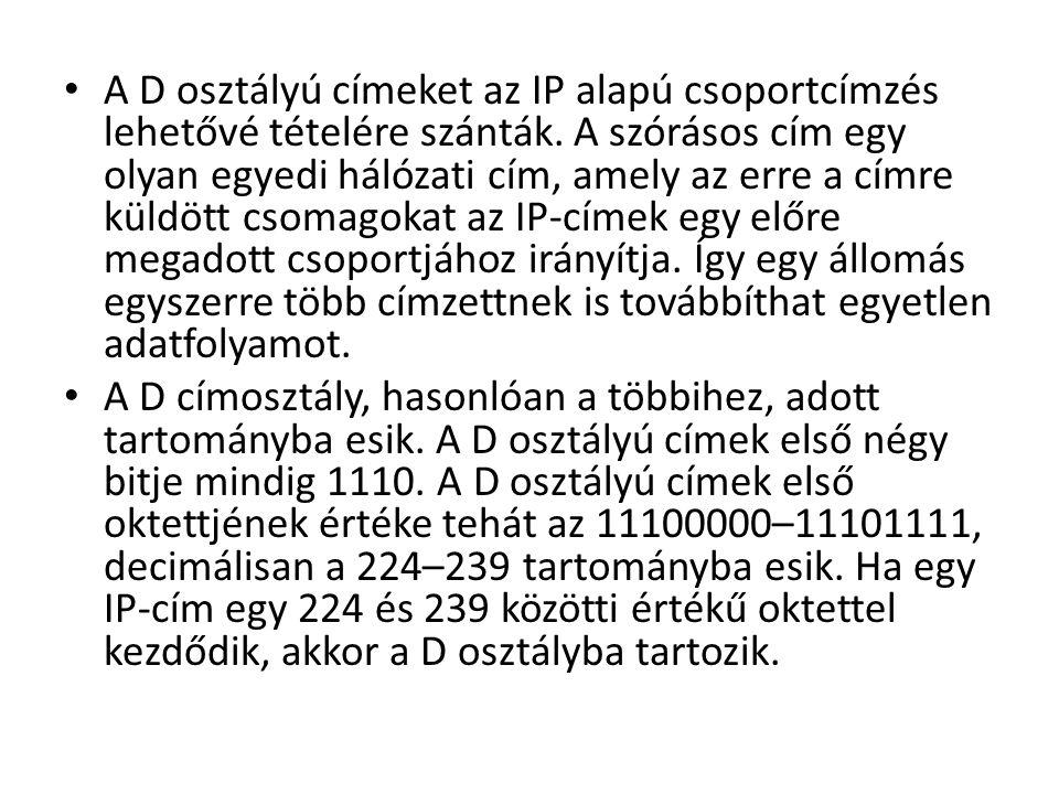 A D osztályú címeket az IP alapú csoportcímzés lehetővé tételére szánták. A szórásos cím egy olyan egyedi hálózati cím, amely az erre a címre küldött csomagokat az IP-címek egy előre megadott csoportjához irányítja. Így egy állomás egyszerre több címzettnek is továbbíthat egyetlen adatfolyamot.