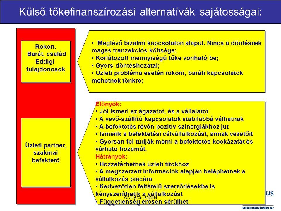 Külső tőkefinanszírozási alternatívák sajátosságai: