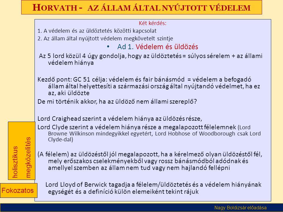 Horvath - az állam által nyújtott védelem