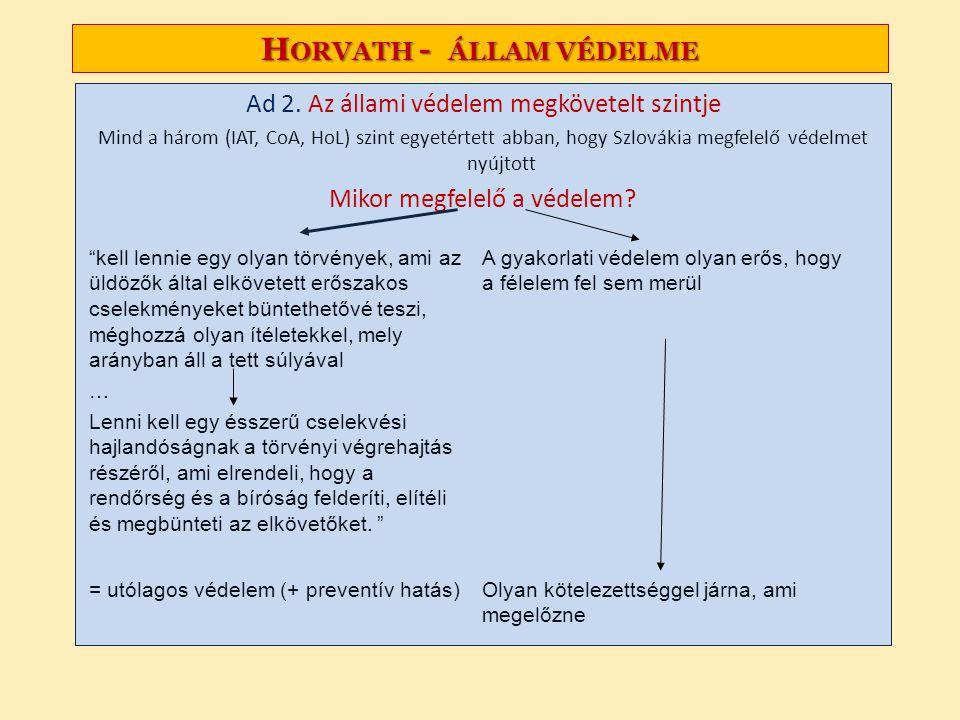 Horvath - állam védelme