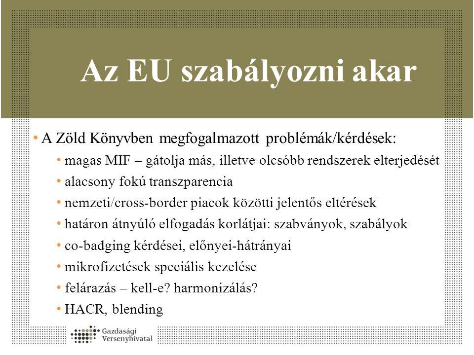 Az EU szabályozni akar A Zöld Könyvben megfogalmazott problémák/kérdések: magas MIF – gátolja más, illetve olcsóbb rendszerek elterjedését.