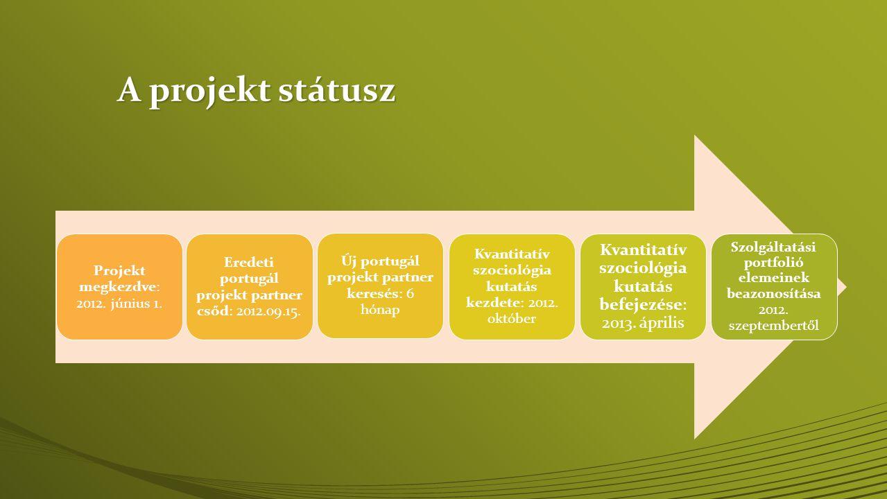 A projekt státusz Projekt megkezdve: 2012. június 1. Eredeti portugál projekt partner csőd: 2012.09.15.