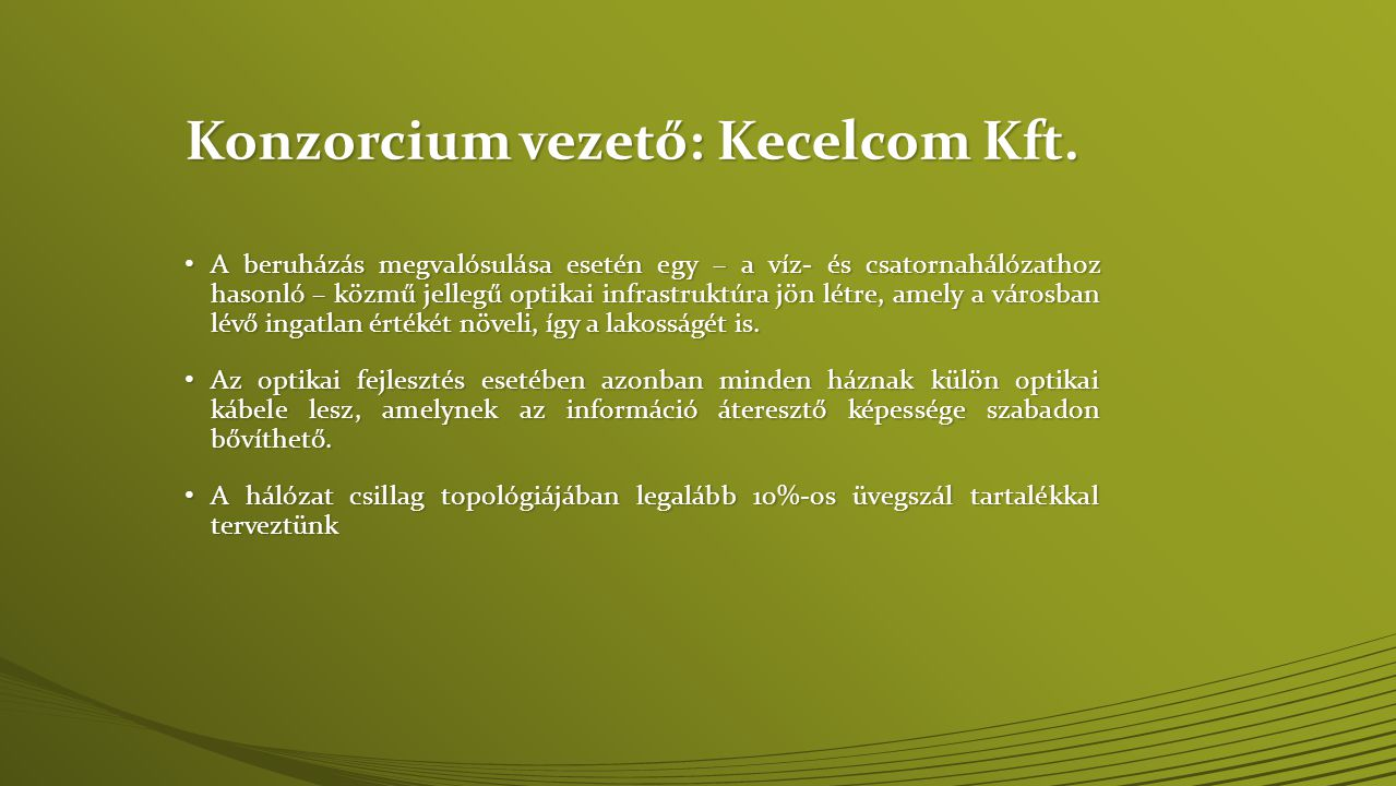 Konzorcium vezető: Kecelcom Kft.