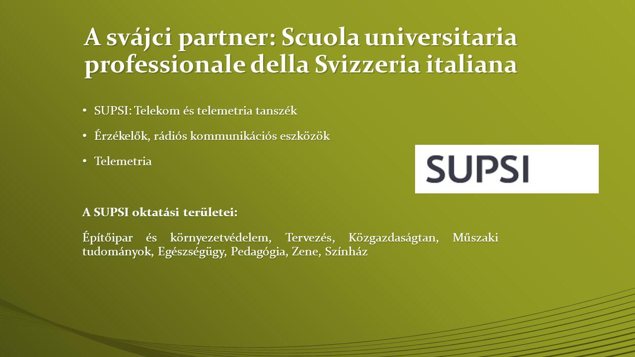 A svájci partner: Scuola universitaria professionale della Svizzeria italiana