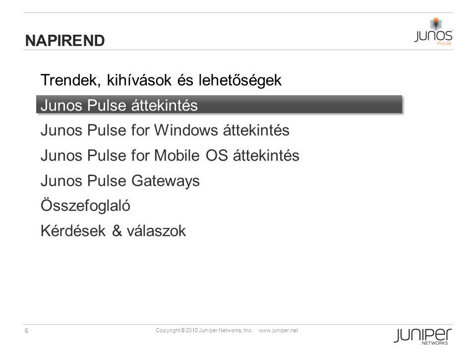Napirend Trendek, kihívások és lehetőségek. Junos Pulse áttekintés. Junos Pulse for Windows áttekintés.