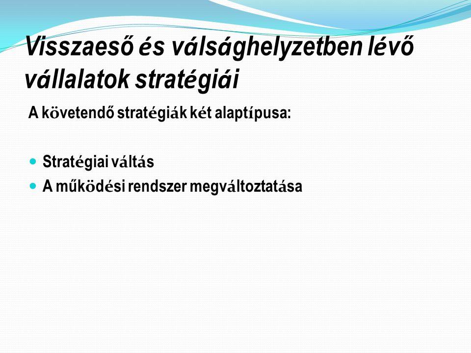 Visszaeső és válsághelyzetben lévő vállalatok stratégiái