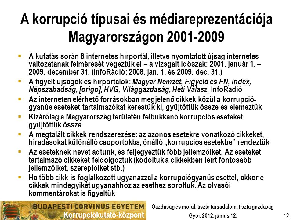 A korrupció típusai és médiareprezentációja Magyarországon 2001-2009