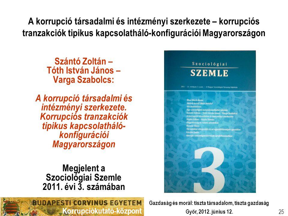 Megjelent a Szociológiai Szemle 2011. évi 3. számában