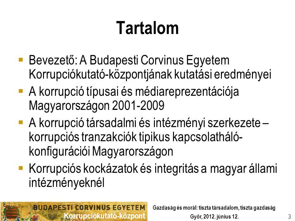 Tartalom Bevezető: A Budapesti Corvinus Egyetem Korrupciókutató-központjának kutatási eredményei.