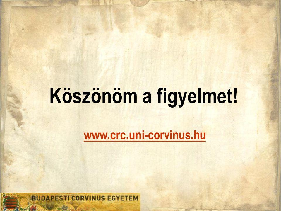 Köszönöm a figyelmet! www.crc.uni-corvinus.hu
