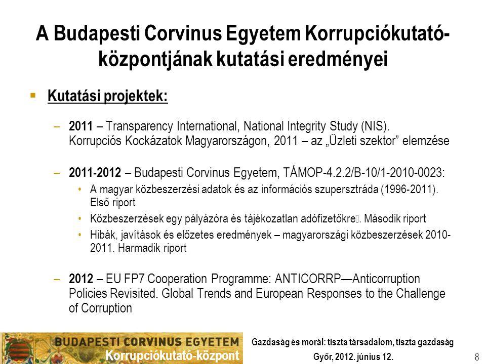 A Budapesti Corvinus Egyetem Korrupciókutató-központjának kutatási eredményei