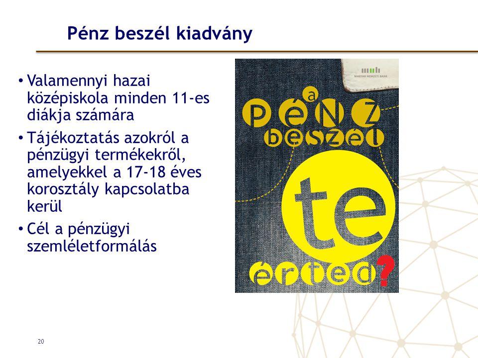 Pénz beszél kiadvány Valamennyi hazai középiskola minden 11-es diákja számára.