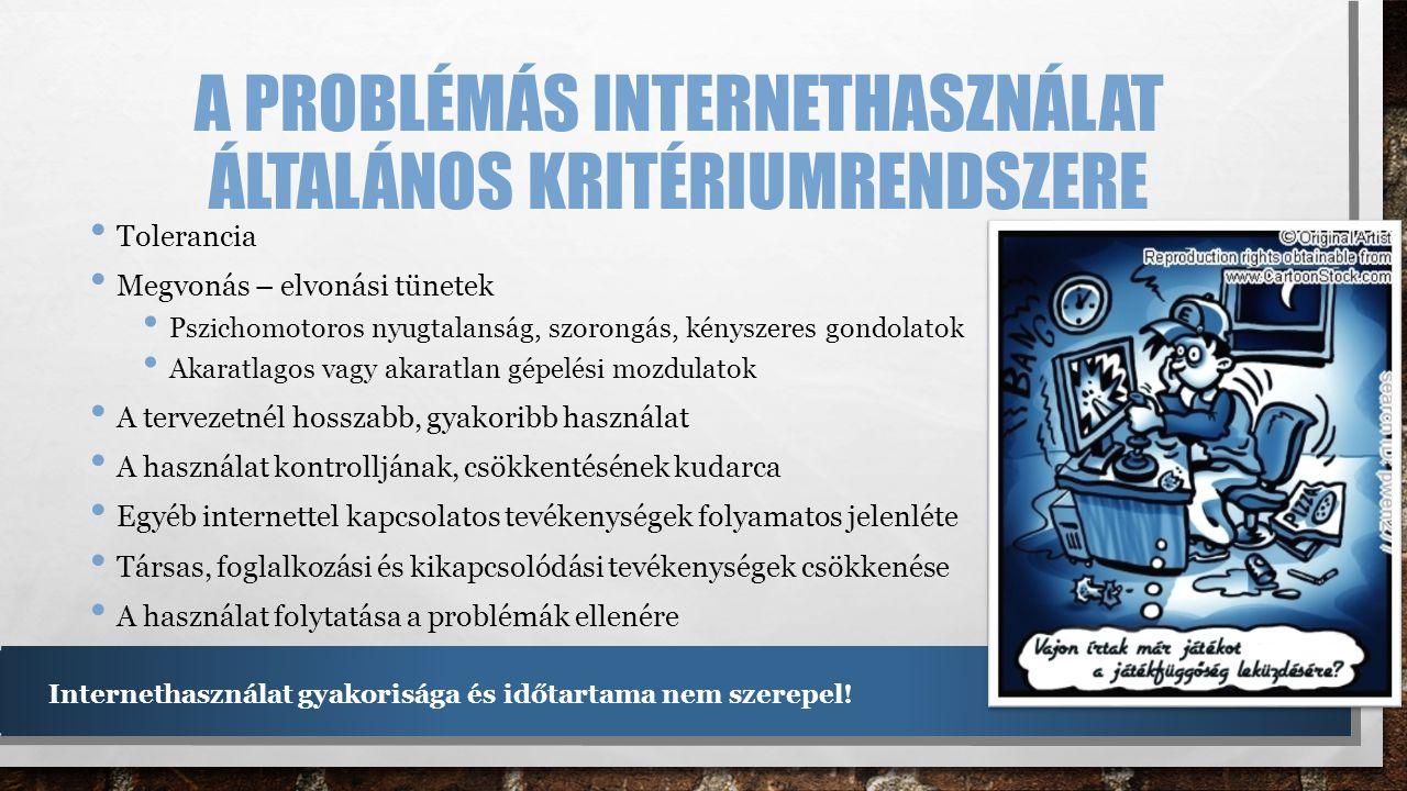 A problémás internethasználat általános kritériumrendszere
