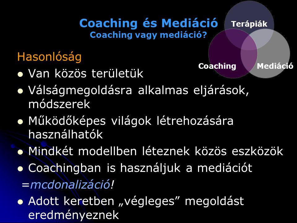 Coaching és Mediáció Coaching vagy mediáció