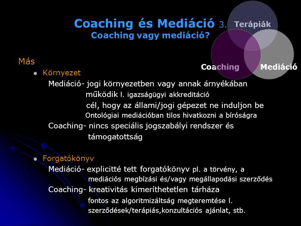 Coaching és Mediáció 3. Coaching vagy mediáció