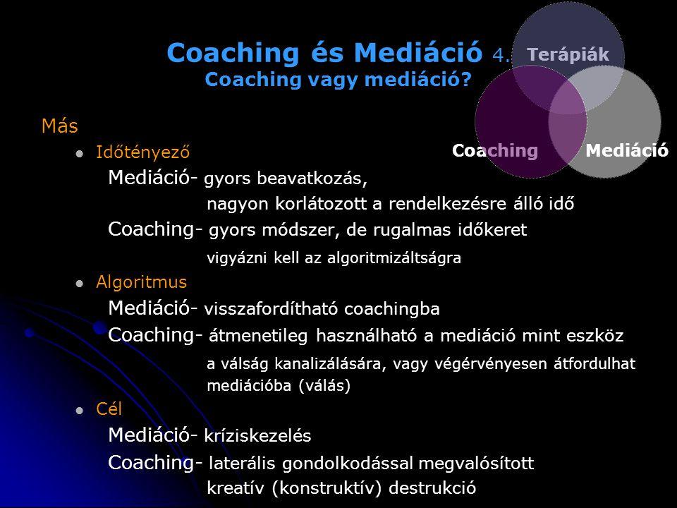 Coaching és Mediáció 4. Coaching vagy mediáció