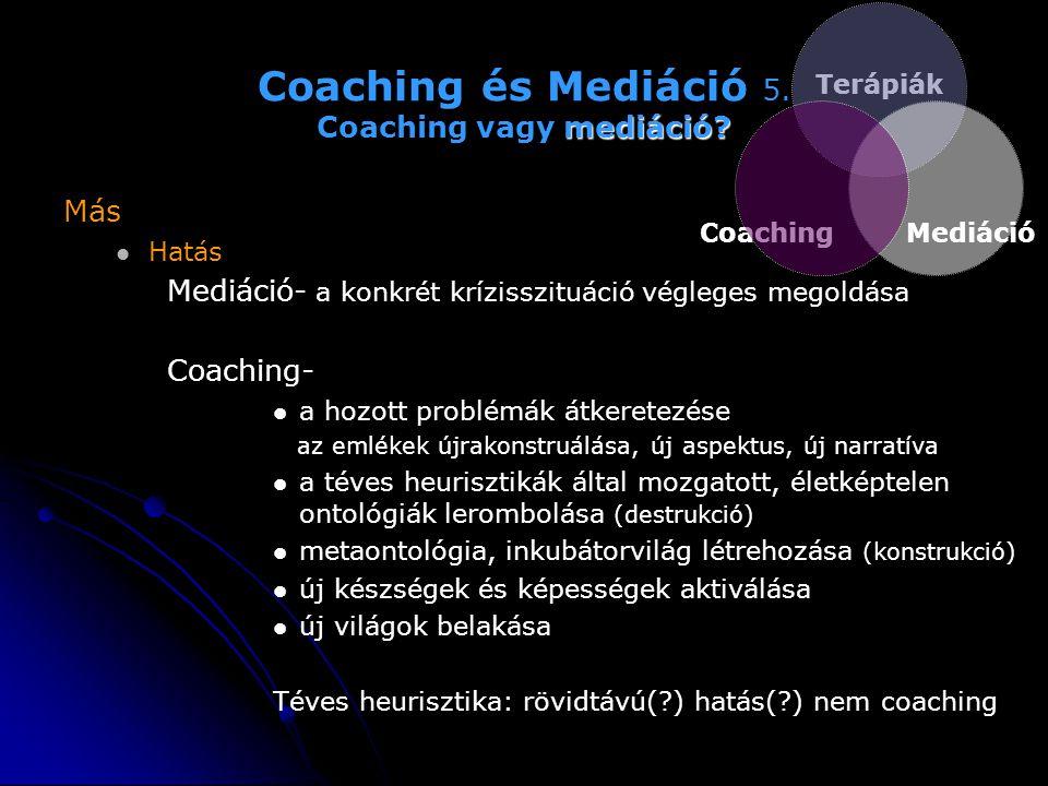 Coaching és Mediáció 5. Coaching vagy mediáció