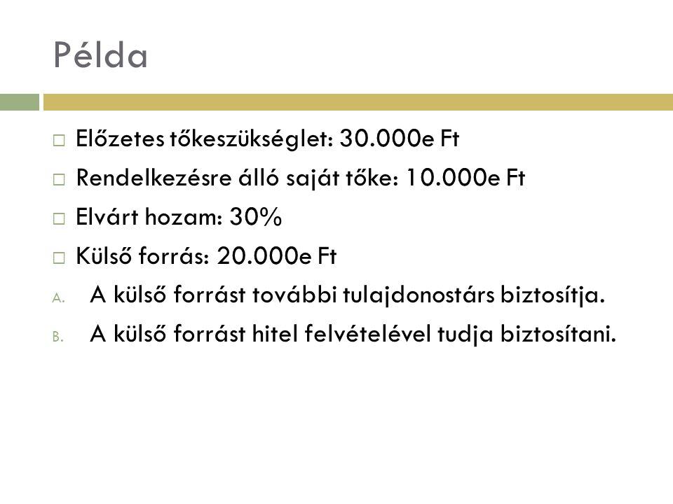 Példa Előzetes tőkeszükséglet: 30.000e Ft