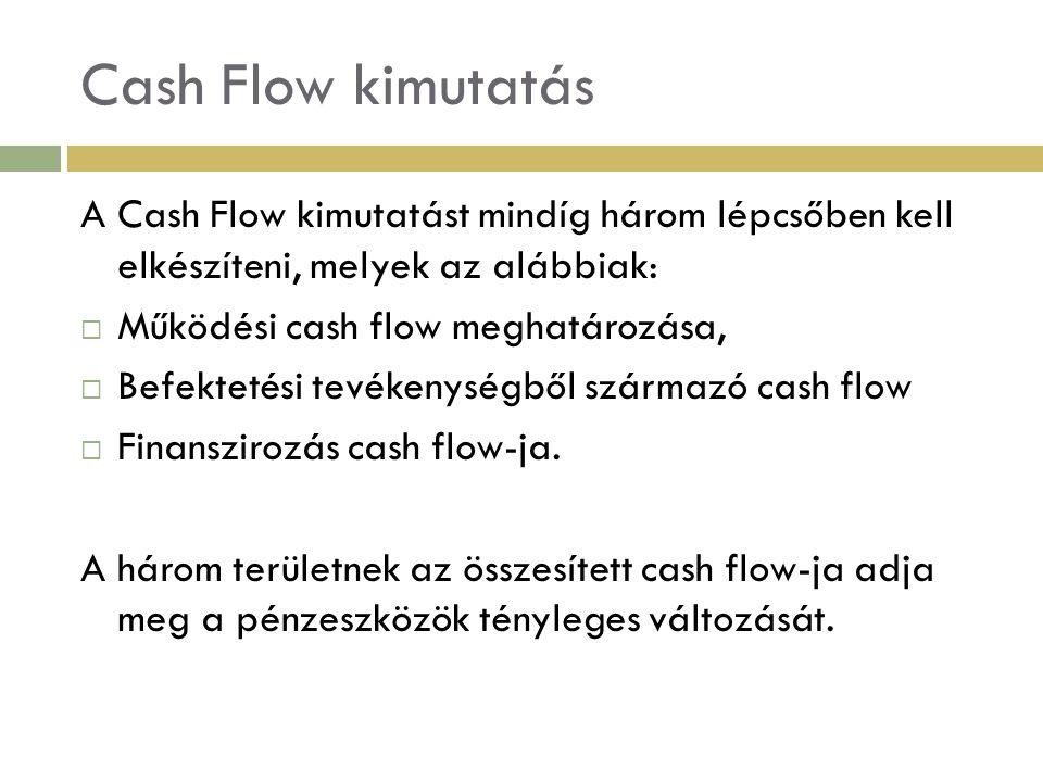 Cash Flow kimutatás A Cash Flow kimutatást mindíg három lépcsőben kell elkészíteni, melyek az alábbiak: