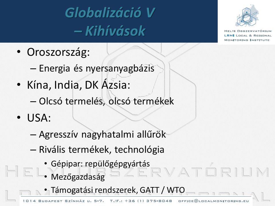 Globalizáció V – Kihívások