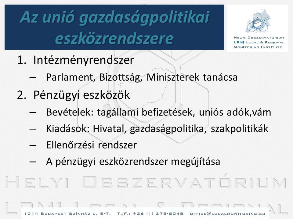 Az unió gazdaságpolitikai eszközrendszere